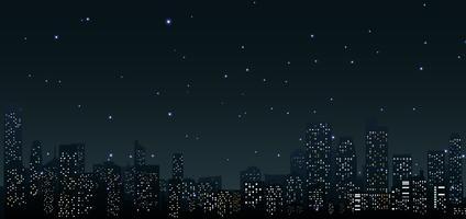 Skyline della città di notte. Scena urbana