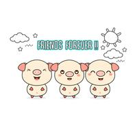 Friends forever greeting card with little animals. Cute pigs cartoon vector illustration.