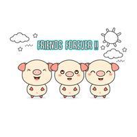Vänner för alltid hälsningskort med små djur. Söt gris tecknad vektor illustration.