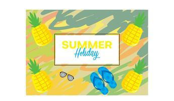Résumé de fond de vacances d'été avec des éléments sandales, ananas et lunettes