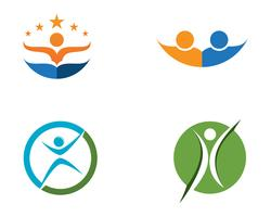 Plantilla de logotipo y símbolos de personas de éxito empresarial