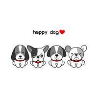 Glückliche Hundevektorillustration lokalisiert auf Weiß.