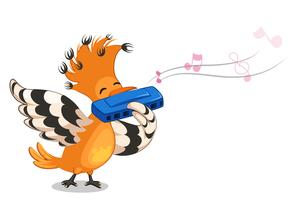 Hoopoe bird playing mouth organ cartoon