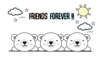 Friends forever polar bears vector illustration