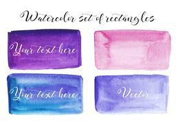 Set di macchia acquerello. Punti su uno sfondo bianco. Trama acquerello con tratti di pennello. Rettangolo, punto. Viola, blu, rosa. Vettore. Isolato.