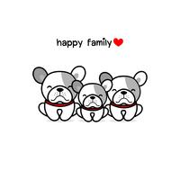 Cute mother father and baby dog.  Happy animal family cartoon vector illustration.
