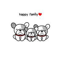 Carino madre padre e baby dog. Illustrazione di vettore del fumetto di famiglia animale felice.