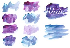 Set di macchia acquerello. Punti su uno sfondo bianco. Trama acquerello con tratti di pennello. Astrazione. Blu, bordeaux, viola, viola, rosa. Isolato. Vettore.