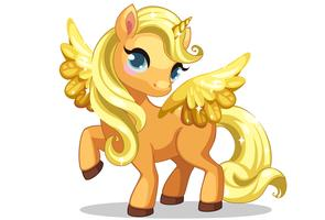 Cute little baby unicorn with beautiful golden hairstyle and wings