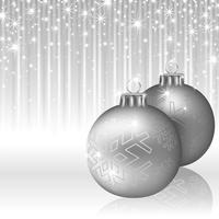 Silver Christmas Background with Baubles and Sparkling Streaks
