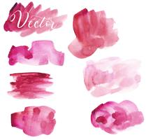 Set of watercolor stain. Spots on a white background. Red, pink. Watercolor texture with brush strokes. The sky. Isolated. Vector.