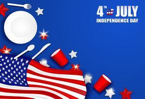 4 de julho feliz dia da independência EUA. Projete com colher, prato, forquilha, faca, utensílios de mesa de vidro de papel e estrela da bandeira americana no fundo azul Vetor.
