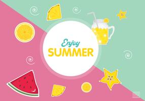 Enjoy a summer background with fruit-type drinks vector