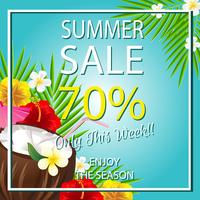 summer sale template with coconut