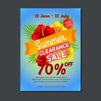 sale poster template with hibiscus flower