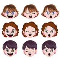 vector manga vrouw avatar gezicht