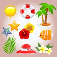 mixed summer elements vector