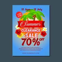 Verão de modelo de cartaz de venda com coqueiro
