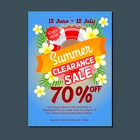 sale poster template summer with buoy and frangipani vector