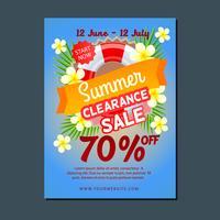 Verão de modelo de cartaz de venda com bóia e frangipani
