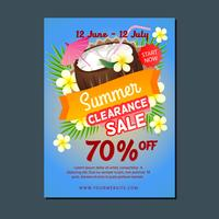 sale poster template summer coconut drink
