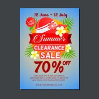 sale poster template with summer hat vector