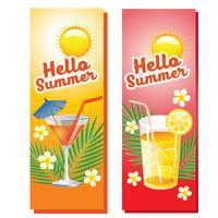 hello summer drinks vertical banner