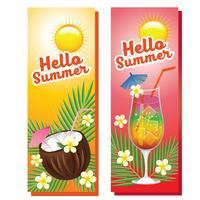 Olá bebidas de verão banner vetor