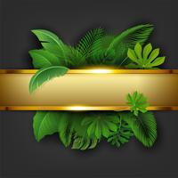 Golden banner with text space of Tropical Leave. Suitable for nature concept, vacation, and summer holiday. Vector Illustration