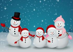 family of snowman christmas background
