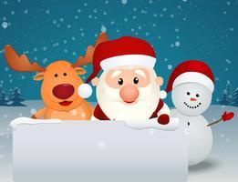 Papai Noel com rena e boneco de neve