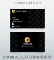 Modern creative business card template and icon.Embossed geometric black background .
