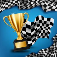 Realistic Golden Trophy with Checkered flag racing championship background, Vector Illustration