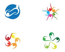 Grupo comunitario equipo personas logo y simbolos estrella. vector