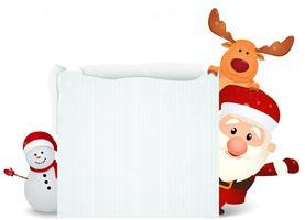 Weihnachtsmann mit Rentier und Schneemann