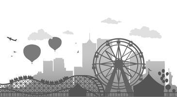 Ferris Whell silhouette vector