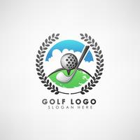 Golf concept logo template with laurel wreath. Label for golf tournaments, organization, and country clubs. Vector illustration