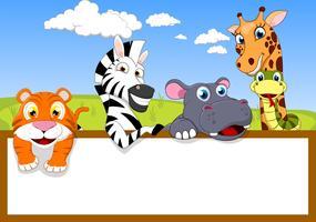 Dibujos animados de animales con signo en blanco