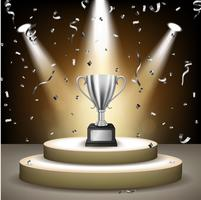 Realistic Silver Trophy on stage with confetti falling and illuminated spotlights, Vector Illustration