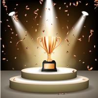 Realistic Bronze Trophy on stage with confetti falling and illuminated spotlights, Vector Illustration