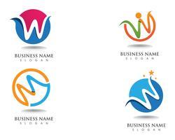 Logotipo de W logotipo de empresa y símbolos