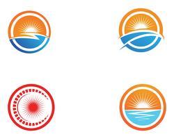 Sun-Vektorillustration Ikonen-Logo und Symbole Schablonendesign