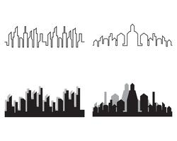 Modern City skyline. stads silhuett. vektor illustration i platt