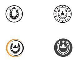 Modello di vettore di logo e simboli di scarpe nero cavallo
