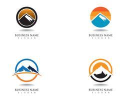 Logotipo da montanha e símbolos vetor de modelo de negócios