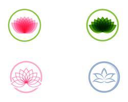 Lotus-bloemembleem en symbolen vectormalplaatje