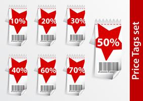 Set of Discount labels with bar code