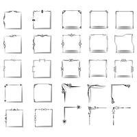 una grande serie di cornici di diverse forme. Set di frame vettoriale vintage