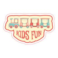 Sticker with kids train and text.