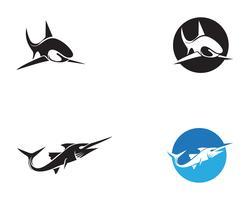 Vettore di simboli e di simboli degli animali di pesce dello squalo